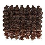 Ocean Wave Crochet Hair Curly Wave for black Women. 14 inch 7 packs 1B/30 Color Braids Hair Extension. (14 inch, 1B/30)