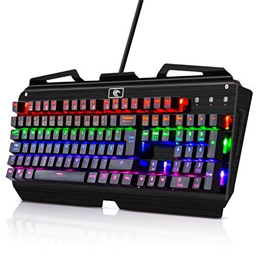 KINGTOP Tastatur Beleuchtet Mechanisches Gaming Keyboard 105 Tasten 9 LED Effekte, QWERTZ Layout