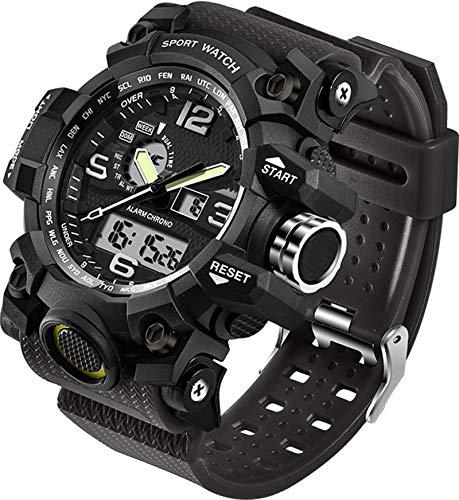 Relógios Masculinos Militar Esportes Eletrônicos LED Cronômetro Digital Analógico Dual Time Outdoor Relógio de Pulso Tático, Alicate de corrida, Preto