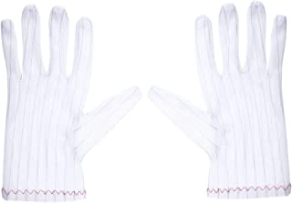 uxcell Anti Static Gloves Full Finger Labor Non-slip Glove for Electronics 200x90mm White 5 Pairs