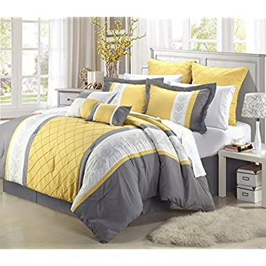 Chic Home Livingston 12-Piece Embroidered Comforter Set Complete Embroidery Pattern Bed in a Bag with Sheet Set Bed Skirt and Decorative Pillows Shams, Queen Yellow Grey