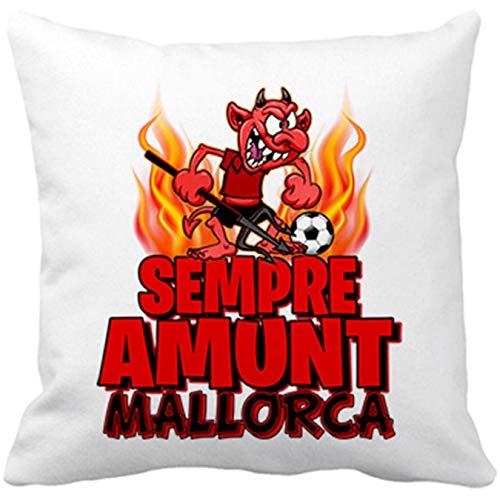Cojín con Relleno Parodia de Dimonió la Mascota de fútbol de Mallorca - Blanco, 35 x 35 cm
