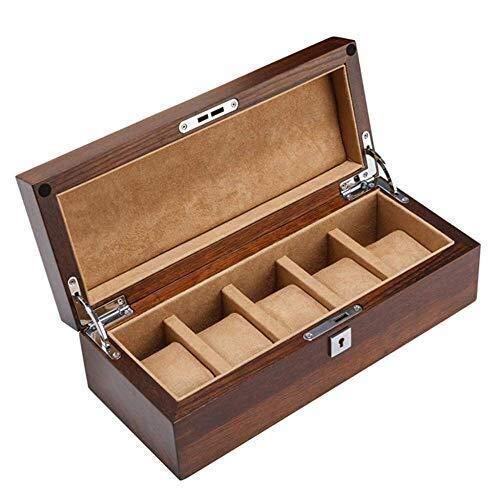 LULUTING Caja de Reloj de joyería de Las Ranuras 5 Colección Acabado de displays Caja de Madera / 5 Desmontable Mats y Hebilla de Metal for Hombres