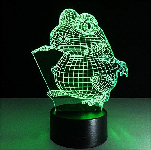 Veilleuses Illusions Optiques Frog lampe de bureau 3d 7 couleurs Changement tactile interrupteur à distance Tableau de commande LED Night Light Lighting Décoration Accessoires pour la maison