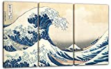 Printed Paintings Impresión sobre Lienzo 3 Partes(120x80cm): Katsushika Hokusai - Bajo la Ola de