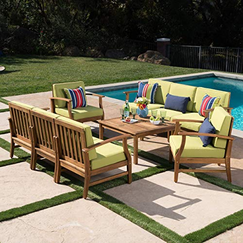 Lorelei Outdoor 8 Seater Teak Finished Acacia Wood Double Sofa and Club Chair Set with Green Water Resistant Cushions