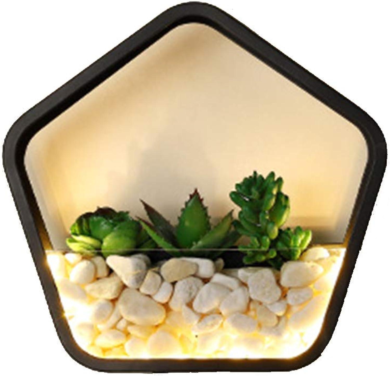HIL Pentagon LED Wandleuchte Drei-Ton Licht Moderne Minimalistische Persnlichkeit Nachttischlampe für Gang Flur Wohnzimmer Schlafzimmer Wandleuchte  25  10CM 8W Schwarz