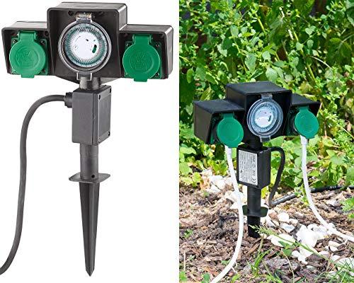 Royal Gardineer Gartensteckdosen: 2-fach-Garten-Steckdose mit Zeitschaltuhr, Spritzwasserschutz IP44 (Zeitschaltuhr Doppelt aussen)
