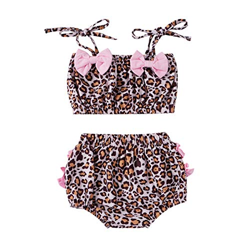 Bathing Suits for Kids Girls Swimwear Baby Girl Crop Top Bikini Set Leopard Modest Two Piece Swimsuit Ruffle Tankini Summer Swimming Beachwear