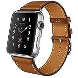 iBazal Compatible con iWatch Series 6 SE 5 4 Correa 44mm 42mm Cuero Piel Pulseras Brazaletes Bandas Reemplazo Series 3 2 1 Hombres Mujeres Reloj Inteligente Bands - Marrón 42/44