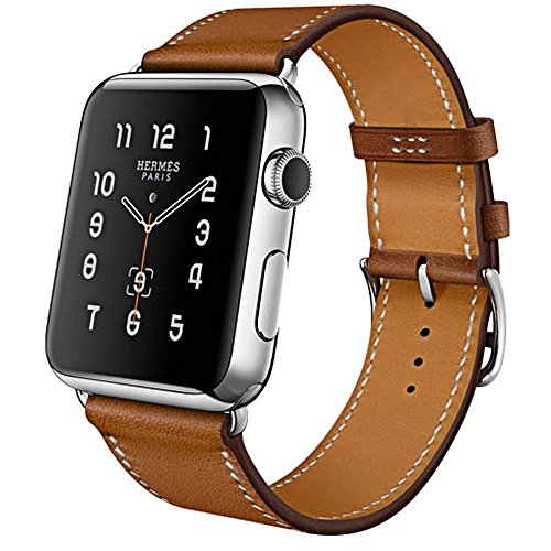 Correa iBazal Compatible iWatch Series 4 Correa 44mm Cuero, Compatible iWatch Correa 42mm Piel Genuino Compatible iWatch Series 4/ Series 3/ Series 2/ Series 1 42mm 44mm - Marrón