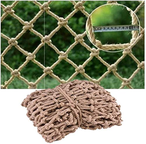 Climbing Rope Net For Playground, Balcony Safety Net Stair Railing Protective Net Heavy Duty Woven Rope Truck Cargo Trailer Net Waterproof Hemp Rope Net Rope 8mm Child Safety Netti(Size:2*2m(7*7ft))