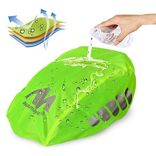AYAMAYA Fahrradhelm Regenschutz Helmüberzug Reflektierend, Wasserdichter Regenhaube Fahrradhelm Regenüberzug Helm Cover Helmschutz Fahrrad mit Kordelzug und Reflektor-Elementen - 3