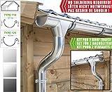 Zink Dachrinnen/Regenrinnen Set | Satteldach (2 Dachseiten) | in Titanzink/Verzinkt/Anthrazit! Ideal für Gartenhaus oder Blockhaus. (Komplettes Set bis 3.40 m [Type 125], Verzinkt)