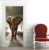 Diy Creative 3D Elephant Door Paste Reacondicionado Papel Autoadhesivo Dormitorio Habitación Pasillo Liquidación Secreta Decorativo Pvc Papel Pintado Pegatinas
