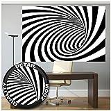 GREAT ART Mural De Pared – Túnel De Efecto Doppler En Blanco Y Negro – Moderno Abstracto Espiral Ilusión Óptica Foto Papel Pintado Y Tapiz Y Decoración (210 X 140 Cm)