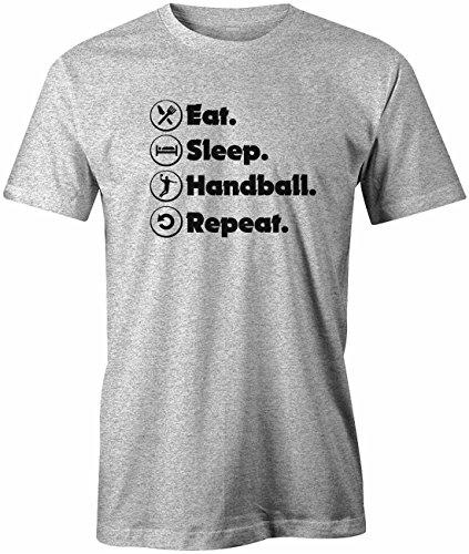 Jayess EAT Sleep Handball Repeat - Herren T-Shirt in Grau Meliert by Gr. L
