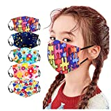 5PC Cute Washable Cotton Face Covering with Cartoon Printed, Reusable Facial Bandana for Kids Suitable for School, Sports & Outdoors (5 PC) (Multicolor 20)