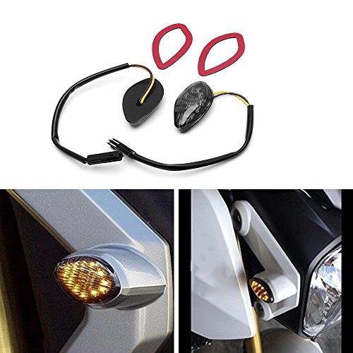 HUSUKU LED Front Flush Mount Turn Signal Light Brake Blinker Indicator Market Lamp for Honda Grom 2014-2019 -Smoke Lens (Pack of 2) (Transparent Len)