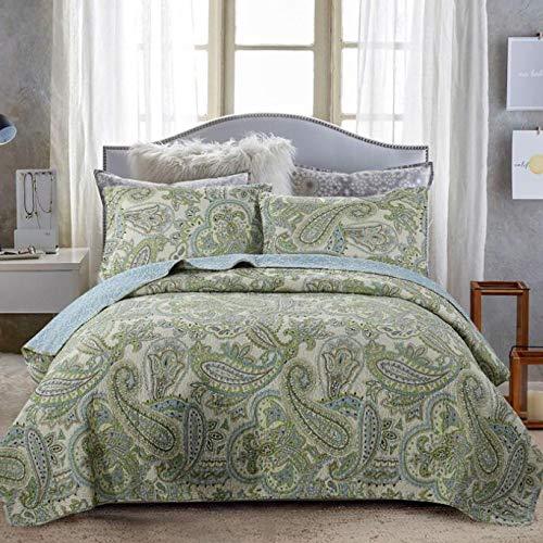 Grün Gesteppte Tagesdecke Patchwork Steppdecke Bettdecken Washed Double People Bettlaken Bettwäsche 3-teiliges Set Bettueberwurf Werfen Kissenbezüge 50X70CMX2 Decken 230X250CM
