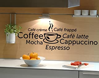 Coffee World Wall Decal by Style & Apply - Wall Sticker, Vinyl Wall Art, Home Decor, Wall Mural - 1246 - Black, 16in x 6in