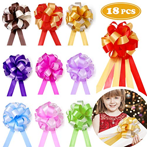 18 Pcs Pull Bows Christmas Gift Wrap Ribbon Present Wrapping Accessories for Boxes Bags Baskets Wedding Party Decorations