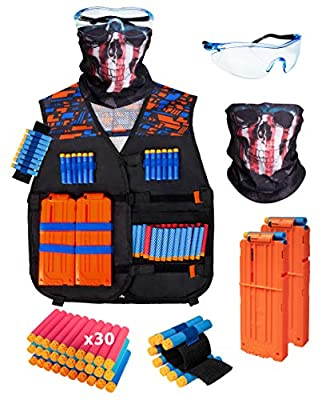 BROADREAM Kids Tactical Vest Kit for Nerf Guns N-Strike Elite Series Nerf Gun Vest for Boys with Reload Darts, Reload Clips, Face Mask, Wrist Band and Protective Glasses