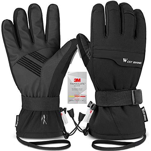 West Biking Winter Skihandschuhe 2-in-1 Handschuhe mit Separaten Innenfutter, 3M Thinsulate Wasserdichter Touchscreen Warme Snowboardhandschuhe für Herren Damen Skifahren Schneeschaufeln