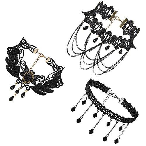 JewelryWe Schmuck 3 PCS Choker Halsband Halskette Set Schwarz Stretch Samt Classic Gothic Quasten Tattoo Spitze Choker Halsketten Ketten für Damen Mädchen