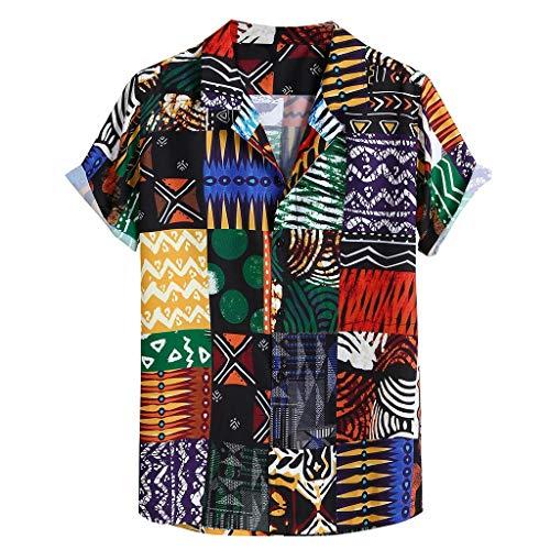VOWUA Shirts for Mens Bohemian Breathable Colorful Printing Loose Turn Down Collar Short Sleeve Shirt D Green