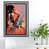 Swallow Reproductor de saxofón Impresiones Música Cartel Habitación Arte de la Pared Decoración para el hogar Pintado a Mano Lienzo Pintura Imagen Regalo -50x70cmx1 Piezas sin Marco