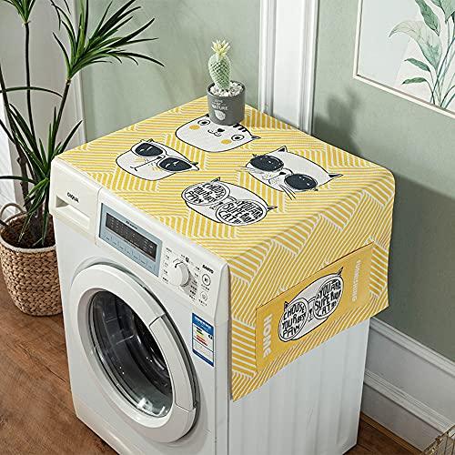1 Pieza Cubierta De Polvo del Refrigerador, Fundas para Secadora Lavadora, Cubierta Antipolvo para Lavadora con Bolsillos Laterales, Impermeable Cubierta Superior del Refrigerador, 140x55cm