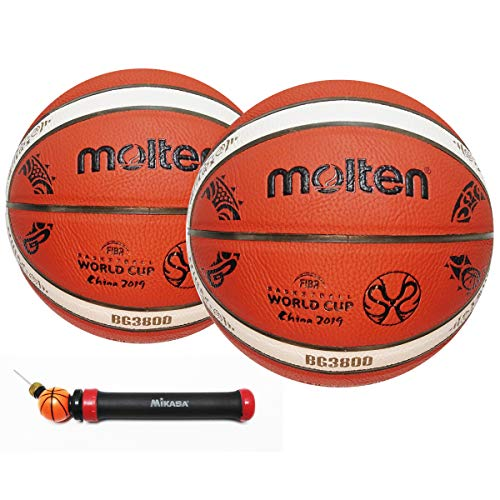 Molten balón de Baloncesto Edicion Especial Copa Mundial 2019 con Bomba Manual - 2 Unidades