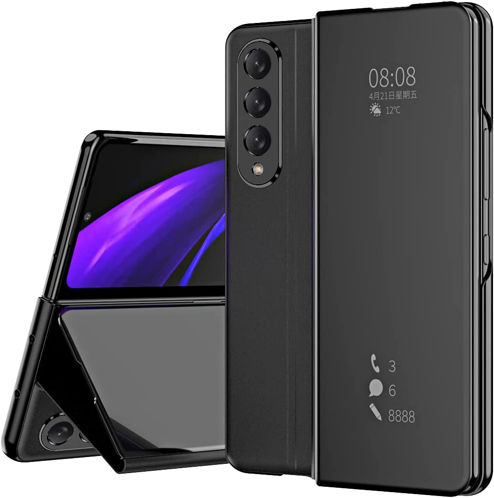 DEMCERT for Samsung Galaxy Z Fold 3 Case, Flip Mirror Surface Full Protection Cover PU Leather Hybrid PC Protection Cover for Samsung Galaxy Z Fold 3 5G (Black)