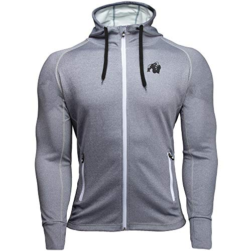 GORILLA WEAR Bridgeport Zipped Hoodie - silberblau - Bodybuilding und Fitness Jacke für Herren, 4XL