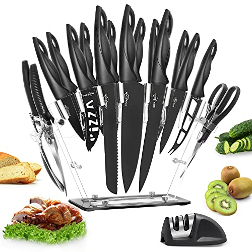 Kitchen Knife Set, 18 Pcs COOLCOOK Stainless Steel Knife Set with Block, Anti-rusting Sharp Serrated Steak Knives with Acrylic Stand, Kitchen Scissors, Bone Scissors and Knife Sharpener