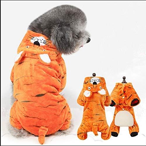 ZLALF Haustier Hund Katze Halloween Kostüme,Haustier Kostüm Tiger Anzug Mit Cap,Weiches Samt Hundebekleidung,Party Weihnachten Special Events,L