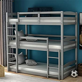 Wood Triple Bunk Beds for Kids Toddlers Twin Size 3 Bunk Bed Frame with Built-in Ladders Can be Divided Into 3 Separate Beds,Gray