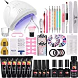Poly Nail Gel Kit with 48W UV LED Lamp, MYSWEETY 15ml 6 Colours Gel Nail Polish Starter Kit with Base Coat, Top Coat, Slip Solution, Polish Remover Wraps Pads, Manicure Tool Accessories Kit