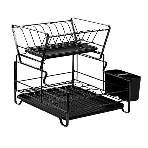 FEXAIX 2-Tier Dish Drying Rack with Drip Tray, Dish Rack Stainless Steel Kitchen Dish Cutlery Drainer Rack, Black (Color : Black)