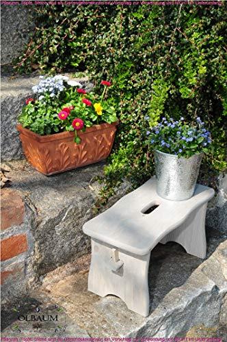 ÖLBAUM Kniebank Garten, Hocker Holz, Blumenampel für außen - KOMPLETT edelgrau-lasiert 40 cm | Fussschemel Fußschemel | Blumenampel | Pflanzenhocker | Schemel Holz | Gartenhocker Kniebank