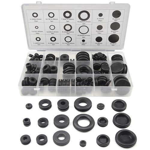XLX 125Pcs 18 Sizes Rubber Grommet Gasket Sealing Ring Repair Box Washer Seal Assortment Set for Plumbing Automotive General Repair