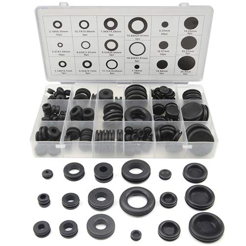 XLX 125Pcs 18 Sizes Rubber Grommet Gasket Sealing Ring Repair Box Washer Seal Assortment Set for Plumbing Automotive General Repair