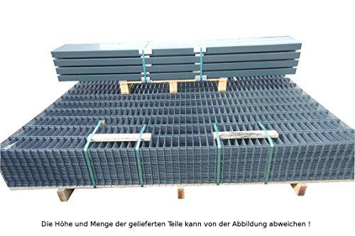 120metros Valla doble sistema de valla valla de jardín/paquete completo en RAL 7016Antracita Gris Altura 123cm/Malla: 50/200mm/Grosor del alambre: 6/5/6mm/Paquete completo (paneles de valla./postes/Material de fijación)