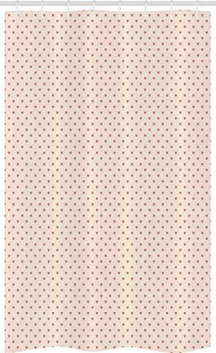 ABAKUHAUS Valentijnsdag Douchegordijn, Minimal Hearts Art, voor Douchecabine Stoffen Badkamer Decoratie Set met Ophangringen, 120 x 180 cm, Droog nam en Champagne