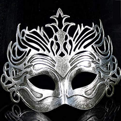 XWYWP Máscara de Halloween Soldado Romano Masculino Filigrana Corte Láser Hombres Venecia Mascarada Ojos Mascaradas Fiesta Halloween Cosplay Boda Mardi Gras Ball Mascarillas plata