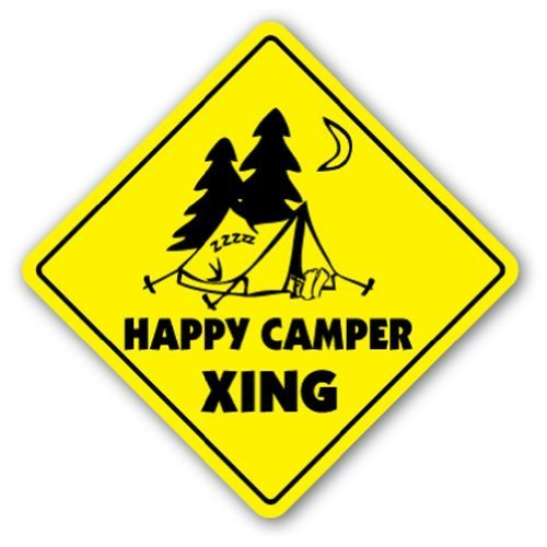 Home Decor Sign Happy Camper Crossing Sign Novelty Camping Tent All Good Hunky Dory Metal Sign for Outdoor Yard Safety Sign Aluminum Signs