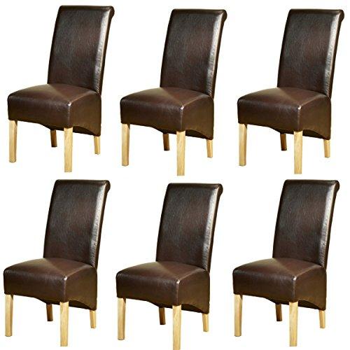 1home, sedie in pelle per tavolo da pranzo con gambe in legno di quercia, 3 paia Contemporaneo Brown