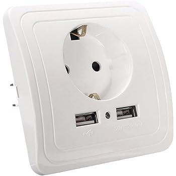Iraza Schuko Enchufe para Europa con 2 USB, Se Adapta a Tomas de corriente Estándar (Blanco): Amazon.es: Bricolaje y herramientas