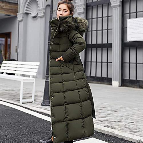 FDSAD Jacket Women 2019 Collar Hooded Zippers Long Coat Women Jacket Belt Warm Women Winter Jacket L Green Fur colla